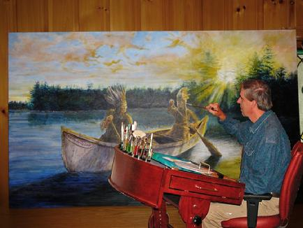 Tom Brennan painting at his easle